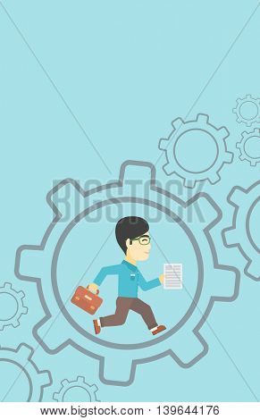 An asian businessman running with a briefcase and a document inside the gear. Concept of stress in business. Vector flat design illustration. Vertical layout.