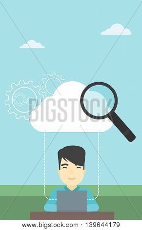 An asian businessman working on a laptop and cloud, magnifier and gears above him. Cloud computing concept. Vector flat design illustration. Vertical layout.