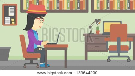 An asian young business woman working on her laptop in office. Vector flat design illustration. Horizontal layout.