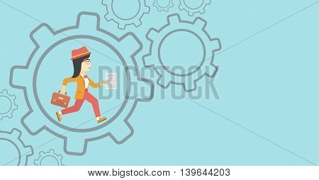 An asian  young business woman running with a briefcase and a document inside the gear. Concept of stress in business. Vector flat design illustration. Horizontal layout.