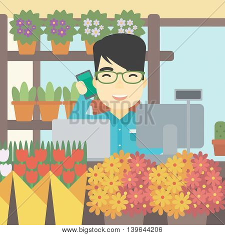 An asian florist using telephone and laptop to take orders. An excited florist standing behind the counter at flower shop. Vector flat design illustration. Square layout.