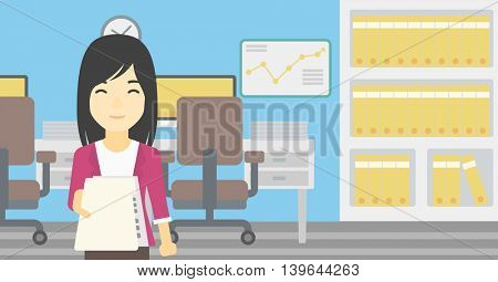 An asian  young business woman giving a resume in office. Woman giving to the employer her curriculum vitae. Job interview concept. Vector flat design illustration. Horizontal layout.