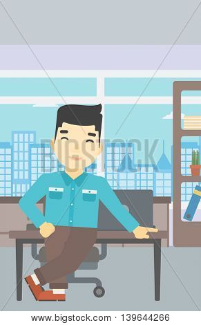 An asian businessman leaning on a table in the office. Young smiling businessman standing in the office. Vector flat design illustration. Vertical layout.