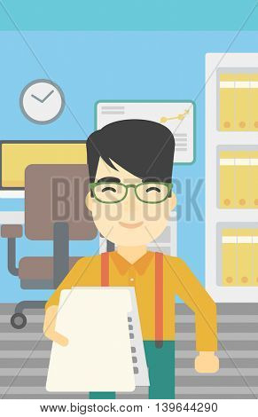 An asian  young businessman giving a resume in office. Man giving to the employer his curriculum vitae. Job interview concept. Vector flat design illustration. Vertical layout.