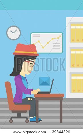 An asian  young business woman working on her laptop in office and receiving or sending email. Business technology, email concept. Vector flat design illustration. Vertical layout.