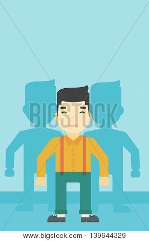 An asian  young man standing with some shadows behind him. Candidat for a position stand out from crowd. Concept of staff recruitment. Vector flat design illustration. Vertical layout.