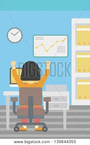 Rear view of successful An asian business woman with raised hands sitting at workplace and a board with growing chart hanging on the wall. Vector flat design illustration. Vertical layout.