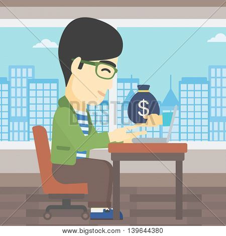 An asian young businessman sitting at the table in office and bag of money coming out of his laptop. Online business concept. Vector flat design illustration. Square layout.