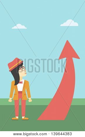 An asian  young business woman looking at a red arrow going up. Successful business concept. Vector flat design illustration. Vertical layout.