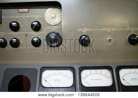 Push Buttons And Gauge Located On A Control Box