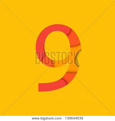 Number nine design template element. Figure 9 vector logo icon and sign in material design style.