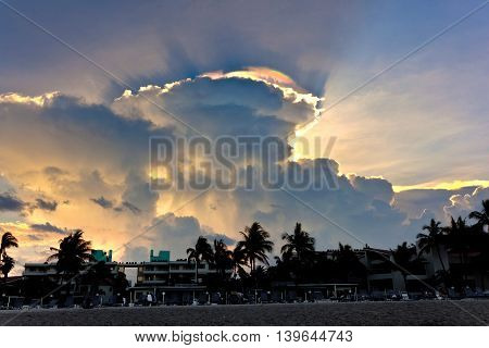 Beautiful Sky With Clouds And Colorful Prisma Light Reflections