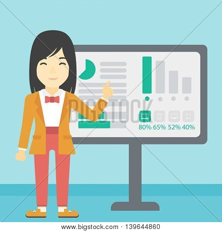 An asian  young business woman pointing at charts on a board during business presentation. Business woman giving a business presentation. Vector flat design illustration. Square layout.