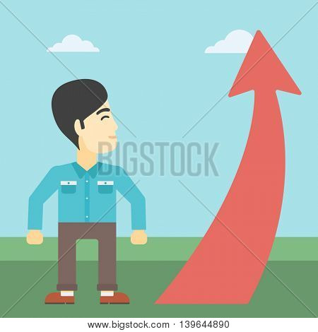 An asian  young businessman looking at a red arrow going up. Successful business concept. Vector flat design illustration. Square layout.