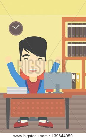 An asian  successful businessman celebrating with arms up while sitting at the table in office. Successful business concept. Vector flat design illustration. Vertical layout.