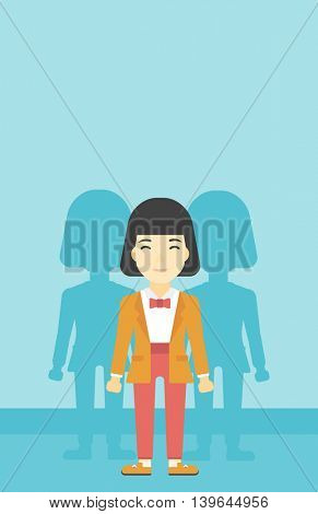 An asian  young woman standing with some shadows behind her. Candidat for a position stand out from crowd. Concept of staff recruitment. Vector flat design illustration. Vertical layout.
