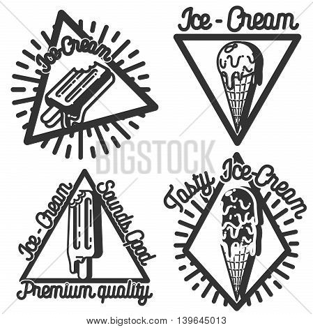 Set of vintage ice cream logo badges and labels. Premium ice cream. Vector illustration, EPS 10