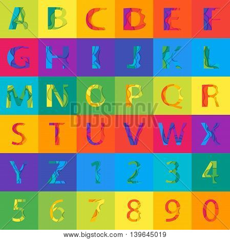 Vector colored Alphabet Set with numbers. Material 3d layered alphabetic font. Vector eps10 illustrator.