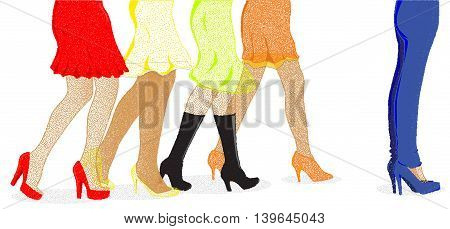 A collection of female legs walkig towards the sale with one pair wearing jeans at the front ib dotted stipple