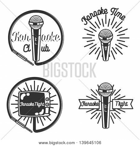 Vector set of karaoke and music labels in vintage style. Microphone, gramophone, radio receiver isolated on white background. Design elements, emblems, badges, logo and icons.