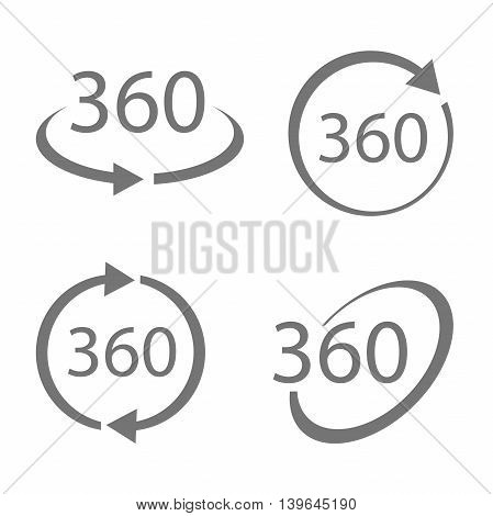 Simple set of 360 Degree View related monochrome Vector Icons. Geometry math symbol. Full rotation.