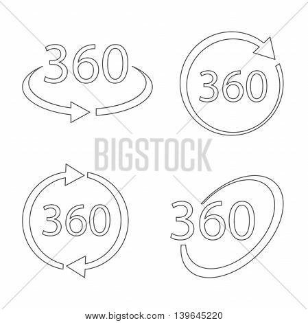 Simple set of 360 Degree View related Vector Icons in thin line style. Geometry math symbol. Full rotation.