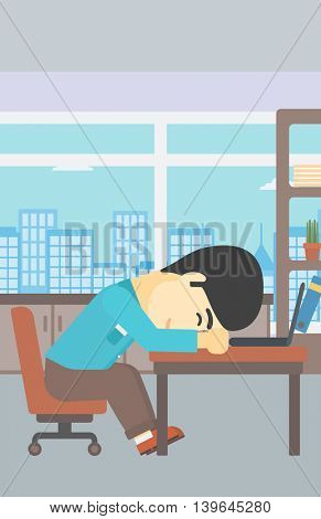 An asian  tired businessman sleeping on laptop keyboard in the office. Businessman resting at workplace. Vector flat design illustration. Vertical layout.