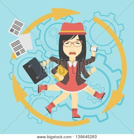 An asian  young business woman with many legs and hands holding papers, briefcase, smartphone. Multitasking and productivity concept. Vector flat design illustration. Square layout.