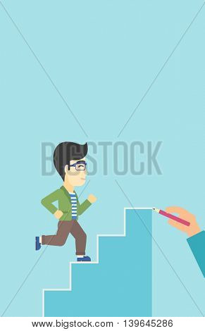 An asian businessman running up the stairs drawn by hand with pencile. Concept of business career. Vector flat design illustration. Vertical layout.