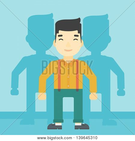 An asian young man standing with some shadows behind him. Candidat for a position stand out from crowd. Concept of staff recruitment. Vector flat design illustration. Square layout.