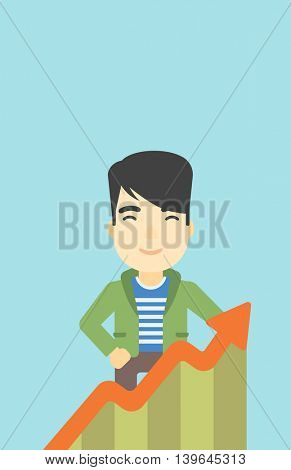 An asian young businessman standing behind growing chart on a blue background. Successful business concept. Vector flat design illustration. Vertical layout.