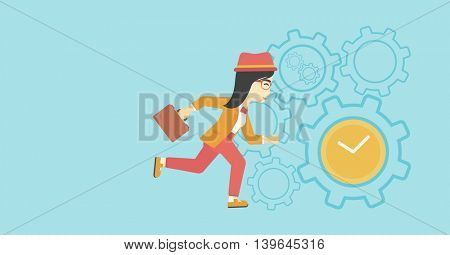 An asian  young business woman with briefcase running on a blue background with clock and cogwheels. Vector flat design illustration. Horizontal layout.