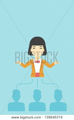 Three employees linked with an asian business woman. Young business woman choosing employee. Concept of searching for stuff. Vector flat design illustration. Vertical layout.