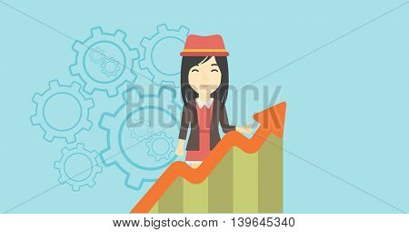 An asian young business woman standing behind growing chart on a blue background with cogwheels. Successful business concept. Vector flat design illustration. Horizontal layout.