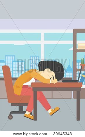 An asian  tired business woman sleeping on laptop keyboard in the office. Young business woman resting at workplace. Vector flat design illustration. Vertical layout.