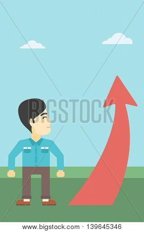 An asian  young businessman looking at a red arrow going up. Successful business concept. Vector flat design illustration. Vertical layout.