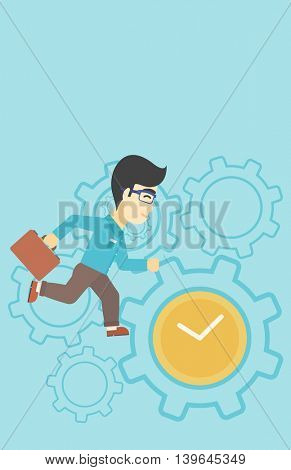 An asian  young businessman with briefcase running on a blue background with clock and cogwheels. Vector flat design illustration. Vertical layout.