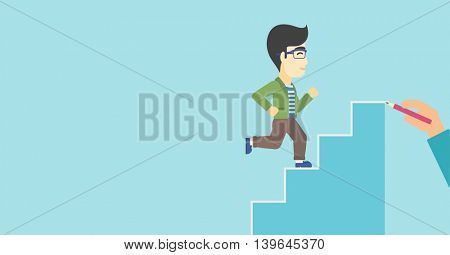 An asian businessman running up the stairs drawn by hand with pencile. Concept of business career. Vector flat design illustration. Horizontal layout.