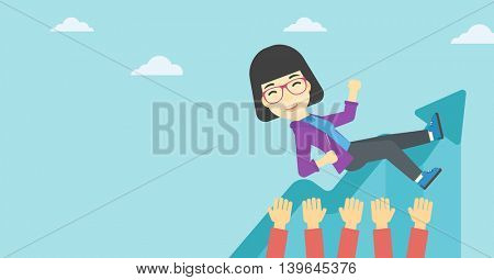 An asian young business woman get thrown into the air by coworkers during celebration. Successful business concept. Vector flat design illustration. Horizontal layout.