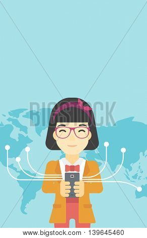 An asian  young business woman holding smartphone connected with the whole world. Concept of global business. Vector flat design illustration. Vertical layout.