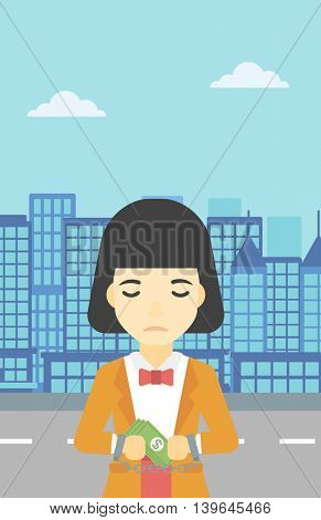 An asian  young business woman in handcuffs with money in hands on the background of modern city. Business woman handcuffed for crime. Vector flat design illustration. Vertical layout.