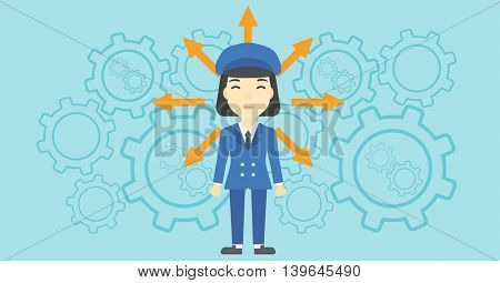 An asian  young woman with many arrows around her head standing on a blue background with cogwheels. Concept of career choices. Vector flat design illustration. Horizontal layout.