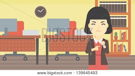 An asian  angry business woman standing in the office and pointing at her wrist watch. Vector flat design illustration. Horizontal layout.