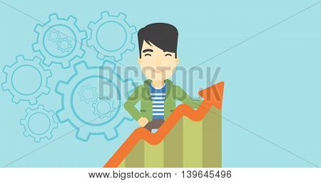 An asian young happy businessman standing behind growing chart on a blue background with cogwheels. Successful business concept. Vector flat design illustration. Horizontal layout.
