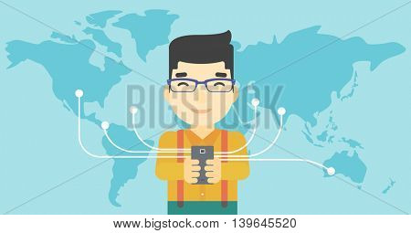 An asian  young businessman holding smartphone connected with the whole world. Concept of global business. Vector flat design illustration. Horizontal layout.