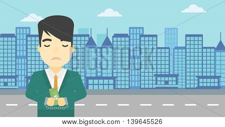 An asian  young businessman in handcuffs with money in hands on the background of modern city. Businessman handcuffed for crime. Vector flat design illustration. Horizontal layout.