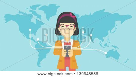 An asian  young business woman holding smartphone connected with the whole world. Concept of global business. Vector flat design illustration. Horizontal layout.
