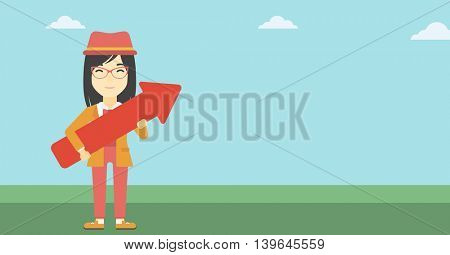 An asian  young business woman holding a big arrow in hands. Successful business concept. Vector flat design illustration. Horizontal layout.