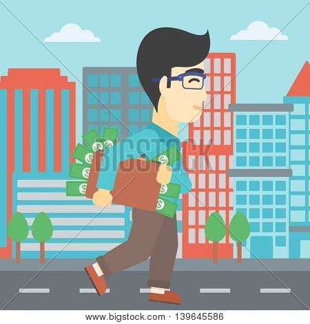 An asian  young businessman walking in the city with suitcase full of money. Vector flat design illustration. Square layout.