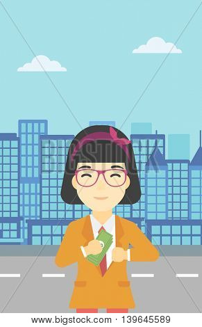 An asian  young business woman putting money in her pocket on a city background. Vector flat design illustration. Vertical layout.
